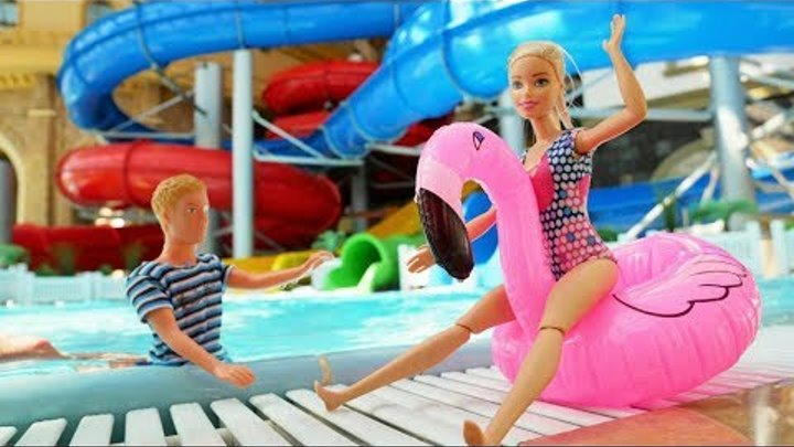 Barbie and Ken. Toy Dolls at the Water Park